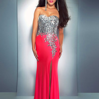 Cassandra Stone by Mac Duggal 85152A - Neon Pink Strapless Beaded Prom Dresses Online