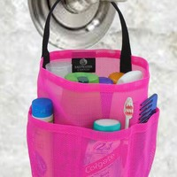 Hot Pink Mesh Tote - College Dorm Shower Caddy