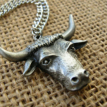 Steer Head Necklace - Horned Bull Necklace - Cowboy Jewelry - Cowgirl Jewelry - Unisex - 18 inch chain - Rodeo Necklace