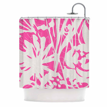 """Patternmuse """"Inky Floral Peony"""" Pink White Illustration Shower Curtain"""
