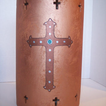 Rustic ceramic hanging light with hand painted cross in copper colors