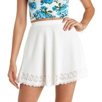 Laser-Cut Scalloped Skater Skirt by Charlotte Russe - White