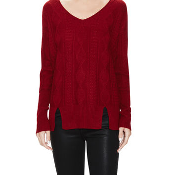 Cable V-Neck Sweater - Red -