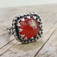 Rustic Carnelian Cocktail Ring, Sterling Silver Reddish Orange Stone