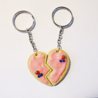 Cute BFF KEYCHAIN  Pink Cookie Heart by FrozenNote on Etsy