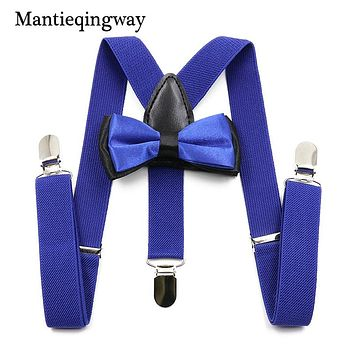 New Arrival Solid Color Suspenders Kids Adjustable Elastic 3 Clips Y-Back Braces Boys Girls Suspenders Bowtie Sets