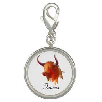 Zodiac Taurus Sign Silver Plated Round Charm