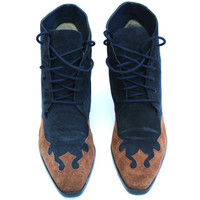 Vintage Newport News Navy Blue/Brown Suede Lace Up Ankle Boots