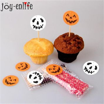JOY-ENLIF 120pcs Halloween Funny Pumpkin DIY Round Sealing Label Stickers Halloween Cake Toppers Packaging Gift Bag Stickers