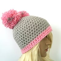Pink and Gray Crochet Double Pom-Pom Hat/Beanie with Pom-Pom/Crochet Beanie/Kawaii Beanie/ Women's Hat/Hipster Beanie/ Ski Hat/Snowboard Hat