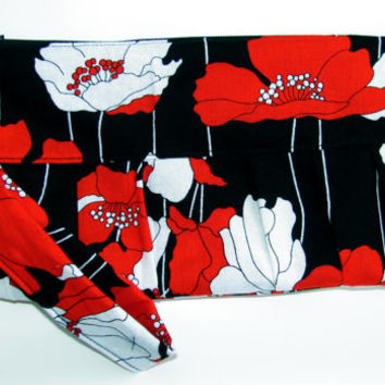 Poppy Lane Wristlet Clutch Women Wallet, Black Red Flower Zipper Purse - Ready to ship