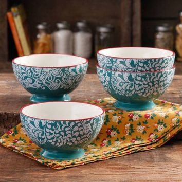 """The Pioneer Woman Traveling Vines 6"""" Footed Bowl, 4-Pack - Walmart.com"""