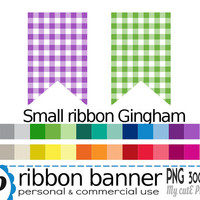 Ribbon banner gingham small - Clipart - flag clipart - banner clipart - ribbon clipart - 30 colors - PNG 300 dpi - Instant download - CA25