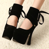 Stylish Cross Strap Fashion High Heel Water Proof Waterproof Shoes = 4814779460