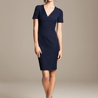 Banana Republic Womens Roland Mouret Collection Vee Dress Size 6 - Navy star