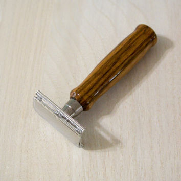 Custom Men's Double Edge Safety Razor with a Zebrawood Handle