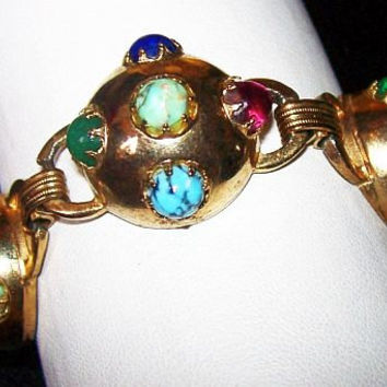 "Gripoix Style Link Bracelet Colored Art Glass Stones Celestial Moon Discs Gold Metal 8"" Vintage Art Deco"