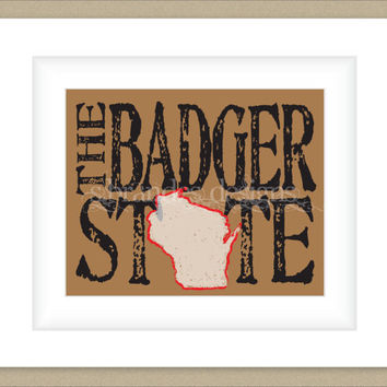8x10 Wisconsin Print, The Badger State Map Art Custom Colors