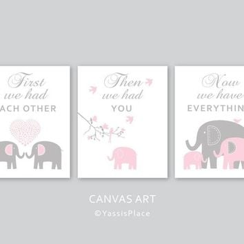 CANVAS Art, Elephant Family, Baby girl, Pink Gray nursery decor, Kids Wall Art, First we had each other. set of 3 by YassisPlace