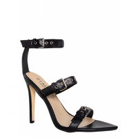 Violet Black Pointed Buckle Stiletto Heels : Simmi Shoes