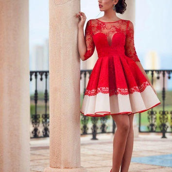 Red Lace Cocktail Dresses Short Ball Lace Party Gowns With Sleeves Robe Cocktail