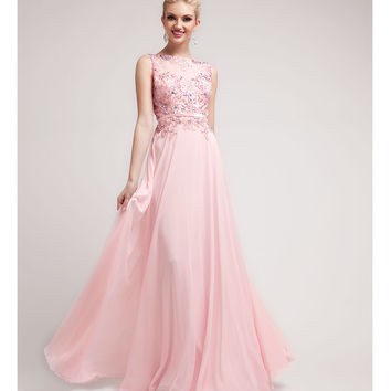 (PRE-ORDER) 2014 Prom Dresses - Baby Pink Beaded Lace & Chiffon Gown