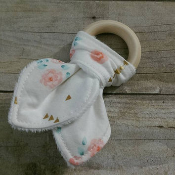 Baby girl wooden baby teether - untreated organic maple wooden rings - white & gold floral minky teething ring - 2.5in. ring