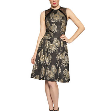 Carmen Marc Valvo Floral Mesh A Line Dress