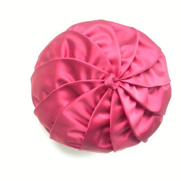 Vintage Bloomingdales hat, red satin, pleated, pillbox style, New York, Woman in Red, fashion, hats