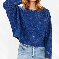 Silence + Noise Lana Boxy Cropped Top- Blue
