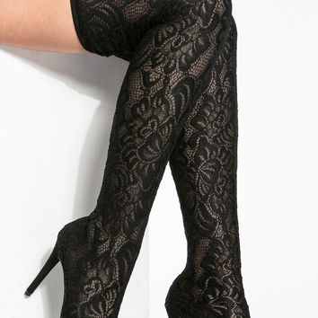 Black Lace Pointed Toe Thigh High Boots @ Cicihot Boots Catalog:women's winter boots,leather thigh high boots,black platform knee high boots,over the knee boots,Go Go boots,cowgirl boots,gladiator boots,womens dress boots,skirt boots.