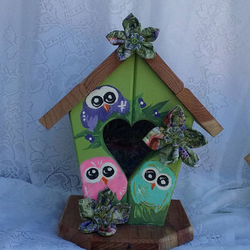 "Heart Bird House, Handpainted Owl House, Spring Decor, 11 1/2""x8""x7"" Wooden Owl decor, Owl Lover Gift, Hostess gift, Unique fun Owl Decor"