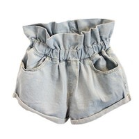 Ruffle Waist Denim Short with Rolled Cuffs