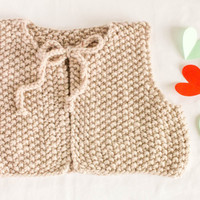 Baby winter vest, hand knitted short baby vest. Cute baby vest, perfect baby girl coming home outfit