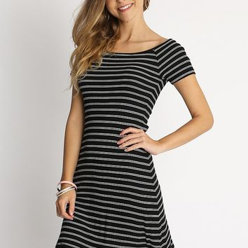 Coffee Break Essential Knit Dress In Black White Stripe