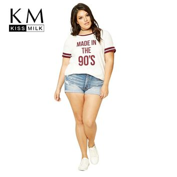 Kissmilk Plus Size New Fashion Women Clothing Casual O-Neck Print Tops Streetwear Preppy Style Big Size T-shirt 3XL 4XL 5XL 6XL