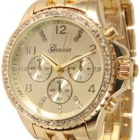 107 Women's Geneva Gold Boyfriend Style Watch with Chrono Design