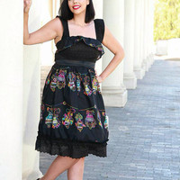 Day of the dead/Sugar skulls/ Dia de los muertos handmade retro rockabilly dress