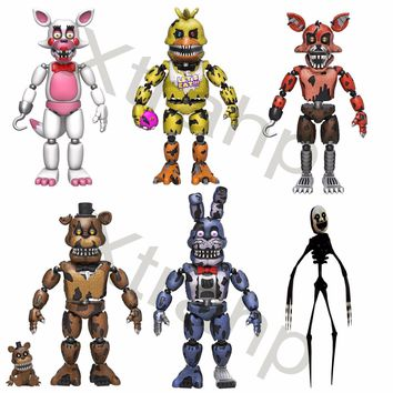 """New Set Of 6 Five Nights At Freddy's 5"""" Funtime,Nightmare Chica,Nightmare Bonnie"""