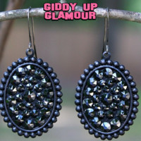 Pink Panache Small Black Matte Oval Earrings with Black Crystals