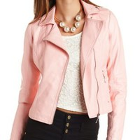 Faux Leather Moto Jacket by Charlotte Russe - Light Gray