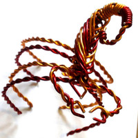 Wire Wrap Bracelet Scorpion Red&Orange Astrology Star Sign Scorpio Aluminium