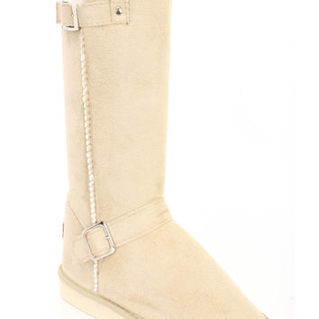 Beige Faux Fur Trimmed Strappy Boots Faux Suede