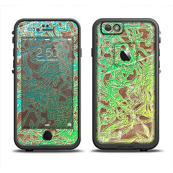 The Bright Green Floral Laced Apple iPhone 6 LifeProof Fre Case Skin Set
