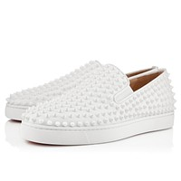 Best Online Sale Christian Louboutin Cl Roller-boat Men's Flat White/white Leather Classic Shoes 31204903047