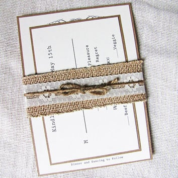 Burlap and Lace Rustic Vintage Wedding Invitation Deposit Listing