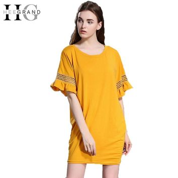 Women Dresses Summer Hollow Out Petal Sleeve Mini Dress Loose Casual Long Tee Shirt  For Women
