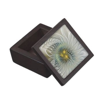 Golden Flower Fantasy, abstract Fractal Art Jewelry Box
