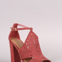 Bamboo Suede Perforated Shield Cutout Chunky Heel
