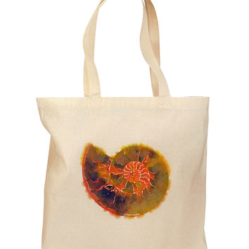 Nautilus Fossil Watercolor Grocery Tote Bag